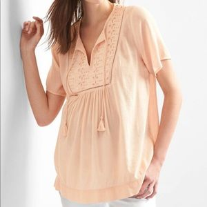 Gap Maternity Tassel Eyelet Top